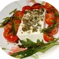 Salted cheese with ruccola