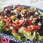 Greek Salad with Lemon Oregano Lentils