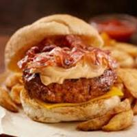 Grilled Bison Burgers with Peanut Butter and Bacon
