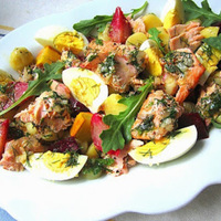 Suzanne Goin's Herbed Salmon & Potato Salad w/ Beets