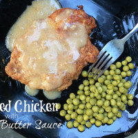 Breaded Chicken with Garlic Butter Sauce