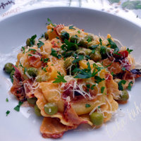 Tortellini with peas and pancetta