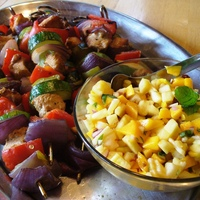 Turkey Kebabs with Mango Pineapple Salsa