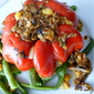 Stuffed Pumpkin Peppers with Red Quinoa, Mushroom and White beans