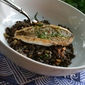 Pan-Seared Black Bass over Black Lentils