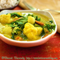 Coconut Cauliflower Curry with Mustard Greens and Spinach