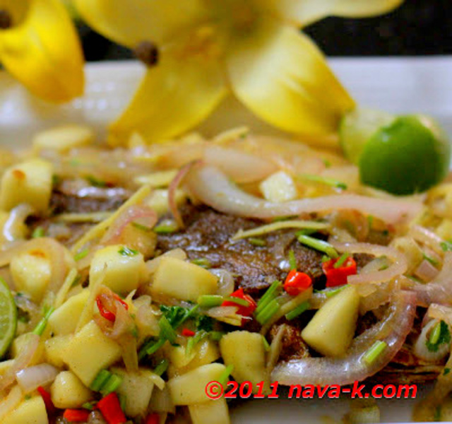 Fish with mango salsa recipe by navaneetham cookeatshare for Mango salsa recipe for fish