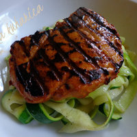 Pan-grilled pork with zucchini garlic ribbons