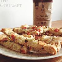 Focaccia with fresh tomato, zucchini & Kalamata olives