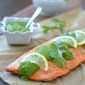 Arugula Chimichurri over Roasted Salmon and a Virtual Baby Shower