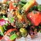 Broccoli Mushroom and Beet With Garlic Greens