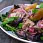 Rachel Khoo's salad of chicken livers and figs only with Italian plums.