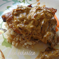 Pressure cooker pork with creamy onion and mustard sauce