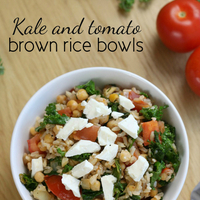 Kale and tomato brown rice bowls