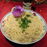 Spaghetti with Baby Clams & Linguica