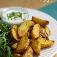 Indian spiced potato wedges with coriander lime yogurt