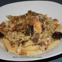 Slow Cooker Chicken Penne with Toasted Bread Crumb Topping