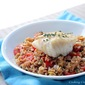 Pan-Fried Cod with Farro Salad in Champagne Vinaigrette