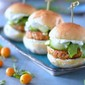 Asian Salmon Sliders with Cilantro Lime Aioli and Marinated Cucumbers