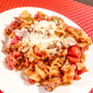 Ground Beef and Bell Peppers w/Egg Noodles
