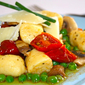 The other gnocchi – Polenta gnocchi with cherry tomatoes, mushrooms and peas