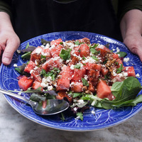 Fast Food For Hot Days, Watermelon Feta Salad With Balsamic Glaze.