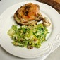 Thyme Roasted Chicken with Mustard Croutons and a Brussels Sprouts Salad