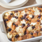 Croissant French Toast Casserole with Blueberries and Cream Cheese