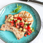 Grilled Pork Chops with Greek Salad Salsa