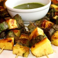Beef Kebabs with Pineapple and Parsley Sauce