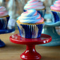 Red, White and Blueberry Cupcakes with Swirled Frosting
