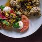 Stephanie Izard's mozzarella, tomato, and stone fruit salad.