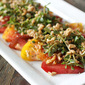 Tomato Salad with Crisped Farro, Purslane, and Roasted Tomato-Miso Vinaigrette