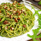 Linguine with Toasted Pecan Arugula Pesto