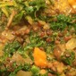 Curried Lentils With Sweet Potatoes, Mushrooms & Kale