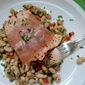 Prosciutto-Wrapped Salmon over Warm White Bean Salad