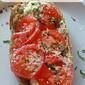 Open Faced Tomato Cheese Sandwich
