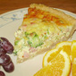 Broccoli-Cheddar-Ham Quiche with Garlic Tahini Crust