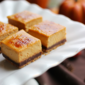 Chocolate Pumpkin Brulee Cheesecake Bars #Choctoberfest