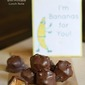 Chocolate Peanut Butter Banana Bites with Printable Lunch Note