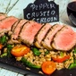 Pepper Crusted Sirloin with Warm Farro Spinach Salad #WeekdaySupper