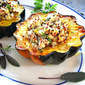 Stuffed Acorn Squash w/ Quinoa & Apples & Cranberries