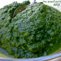 Pea, spinach and broad beans mash