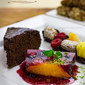 Vegan Dessert Platter with Fruit Terrine, Fruit & Date Rolls Kabobs/Skewers and Chocolate Pumpkin Cake