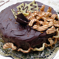 Chocolate chiffon cake with salted caramel cream