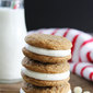 Gingersnap Sandwich Cookies with White Chocolate Filling
