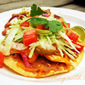 Chicken Fajita Tostadas and Pintos and Cheese Salad