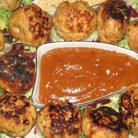 Homemade Chicken balls with Spicy sauce