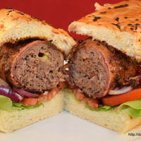 Bacon Wrapped Stuffed Burger Dogs