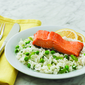Lemon Rice with Crispy Salmon